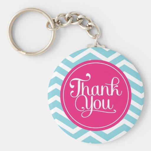 Pink Blue Chevron Thank You Keychain
