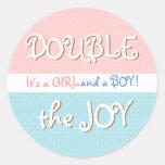 Pink & Blue Circles & Dot Twin Baby Sticker
