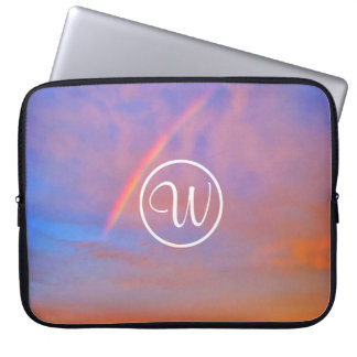 Pink & blue clouds rainbow sunrise custom monogram laptop sleeve