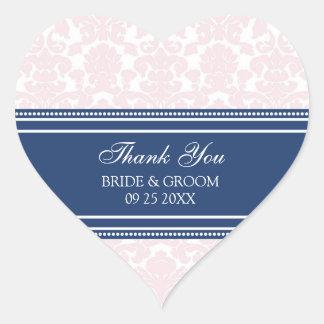 Pink Blue Damask Thank You Wedding Favor Tags Heart Sticker