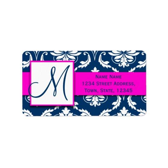 Pink Blue Damask Wedding RSVP Return Address Label