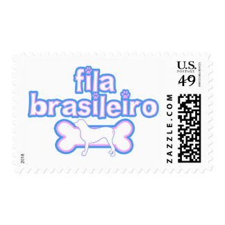 Pink & Blue Fila Brasileiro Postage Stamps