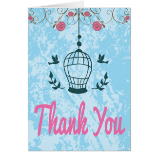 Pink & Blue Floral Birdcage Thank You Note Card
