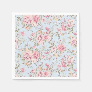 Pink & Blue Floral Shabby Chic Napkins Disposable Serviette