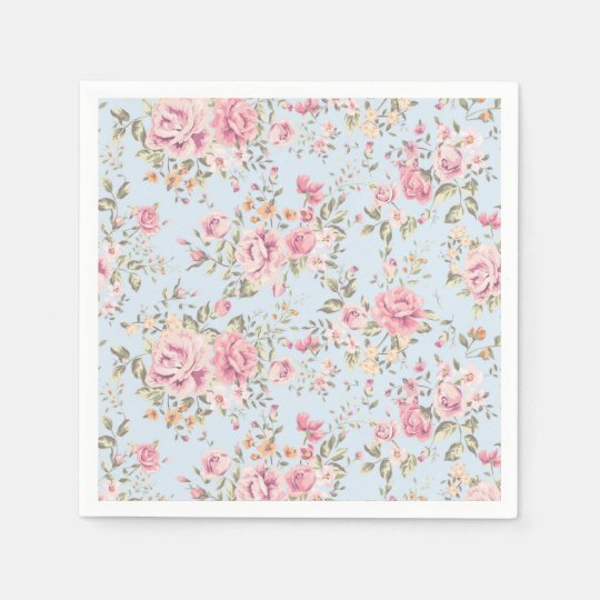 Pink & Blue Floral Shabby Chic Napkins Disposable