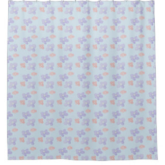 Pink Blue Flowers on Pastel Blue Shower Curtain