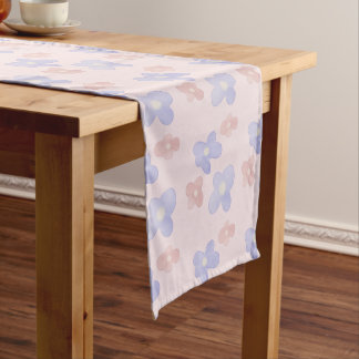 Pink Blue Flowers on Pastel Pink Short Table Runner
