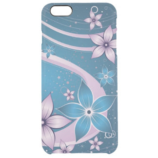 pink blue flowers vector swirl art clear iPhone 6 plus case