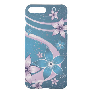 pink blue flowers vector swirl art iPhone 7 plus case