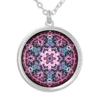 Pink, Blue Fractal Silver Plated Necklace