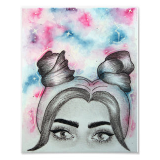"Pink & Blue Galaxy Girl with Buns Print (8"" x 10"") Photo"