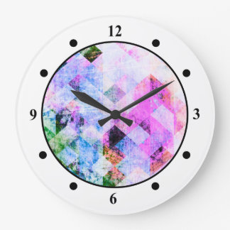 Pink/Blue Geometric Grungy Diamond Pattern Wallclock
