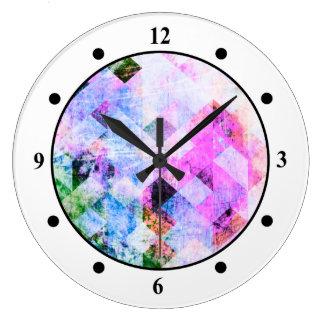 Pink/Blue Geometric Grungy Diamond Pattern Wallclock