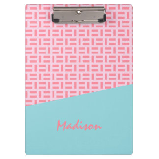 Pink & Blue Geometric Patterned Custom Clipboard