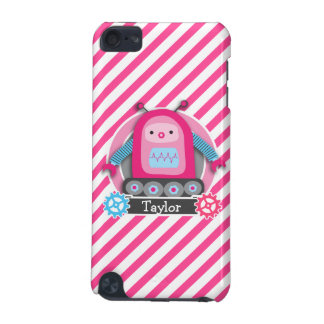Pink & Blue Girl Robot; Pink & White Stripes iPod Touch (5th Generation) Case