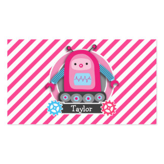 Pink & Blue Girl Robot; Pink & White Stripes Pack Of Standard Business Cards