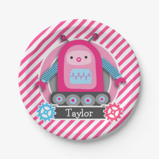 Pink & Blue Girl Robot; Pink & White Stripes Paper Plate