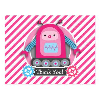 Pink & Blue Girl Robot; Pink & White Stripes Postcard
