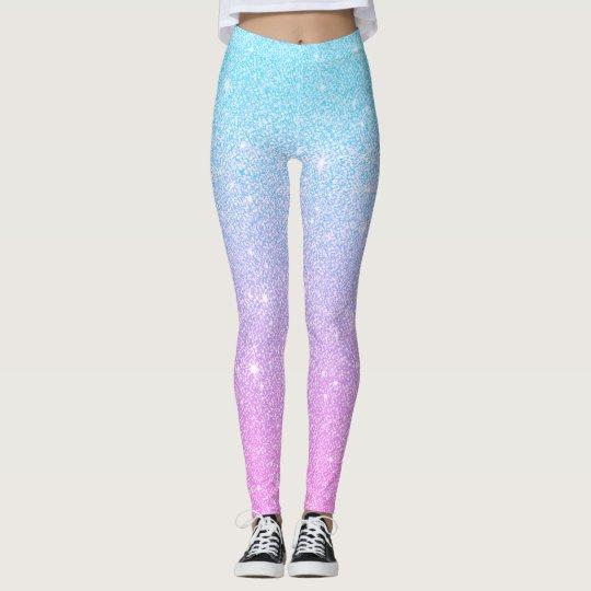 Pink+Blue Glitter Athleisure Yoga Pants Leggings