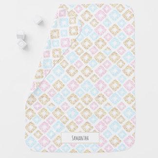 Pink, Blue & Gold Confetti Monogram Baby Blanket