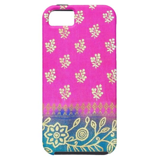Pink Blue Gold Sari iPhone 5 Case