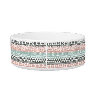 Pink Blue Gray Abstract Aztec Tribal Print Pattern Bowl