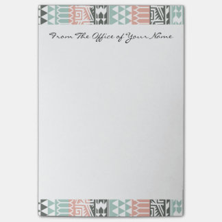 Pink Blue Gray Abstract Aztec Tribal Print Pattern Post-it Notes