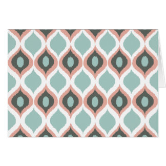 Pink Blue Gray Geometric Ikat Tribal Print Pattern Card