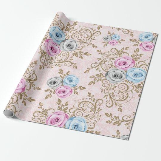 Pink Blue Gray Rose Gold Floral Baroque Antoniette