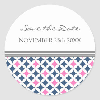 Pink Blue Gray Save the Date Envelope Seal Round Sticker