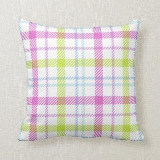 Pink, blue, green and white tartan cushion