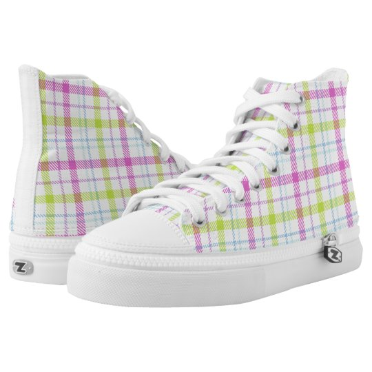 Pink, blue, green and white tartan high tops