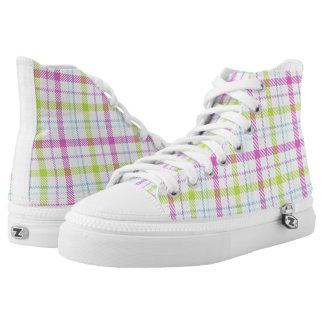 Pink, blue, green and white tartan printed shoes