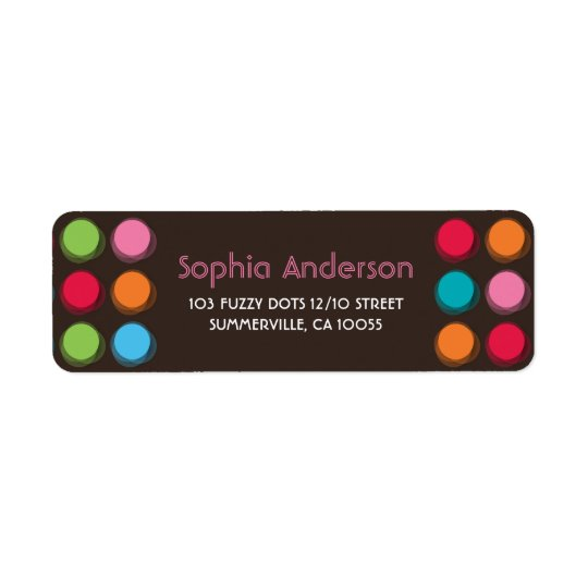 Pink Blue Green Fuzzy Colour Dots Address Labels