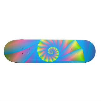 Pink Blue Green Spiral Skateboard