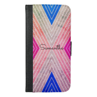 Pink, Blue, Grey Color Design with Black Name - iPhone 6/6s Plus Wallet Case