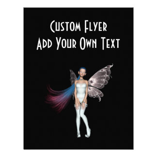 Pink Blue Hair Pixie In White Personalized Flyer