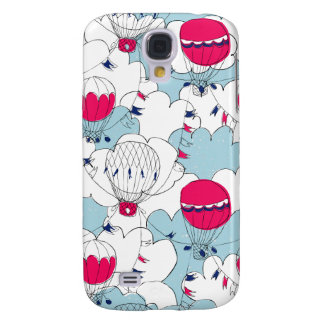 Pink & Blue Hot Air Balloon Doodle Sketch Pattern Galaxy S4 Case