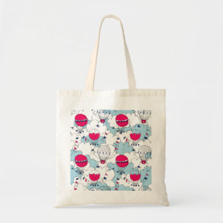 Pink & Blue Hot Air Balloon Doodle Sketch Pattern Tote Bag