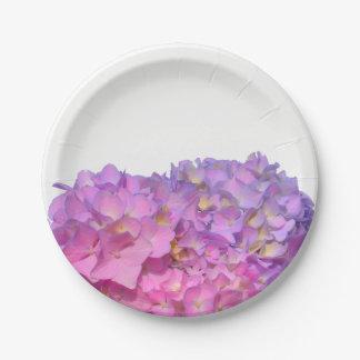 Pink & Blue hydrangeas 7 Inch Paper Plate