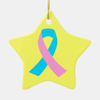 Pink & Blue - Infertility Awareness Ribbon Ceramic Star Decoration