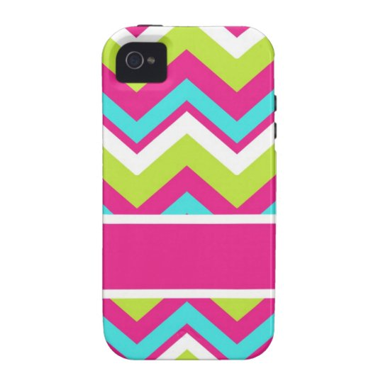 Pink, blue, lime green chevron stripe iPhone 4/4S cases