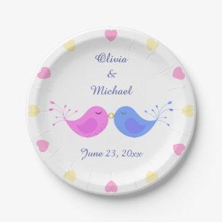 Pink Blue Love Birds Bridal Shower 7 Inch Paper Plate