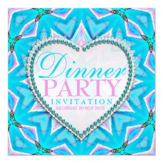 Pink Blue Mandala Bohemian Dinner Party Invitation