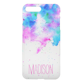 Pink blue modern watercolor brushstrokes splatters iPhone 8 plus/7 plus case