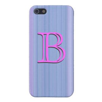 "Pink blue monogram ""B"" customizable iPhone 5 Cases"