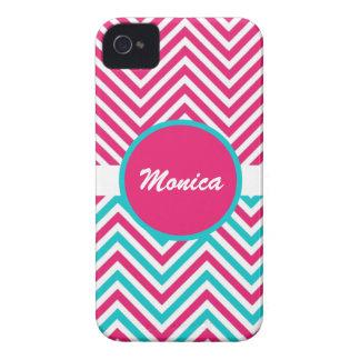 Pink blue monogram chevron Case-Mate iPhone 4 cases