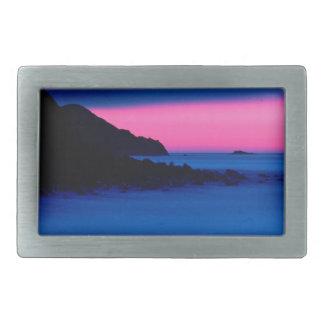 Pink Blue Ocean Sunset Brushed Silver Belt Buckle