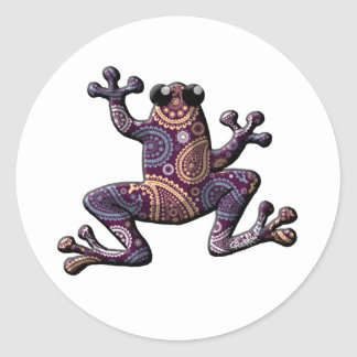 Pink Blue Paisley Climbing Frog Stickers