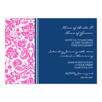 Pink Blue Pattern Engagement Party Invitations